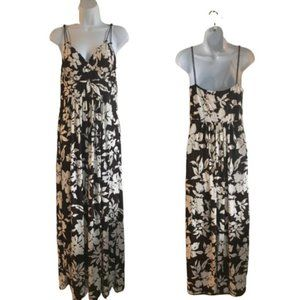 American Living Floral Brown White Maxi Dr…